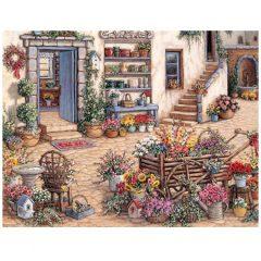 5100 0338 Courtyard Flower Shoppe by Janet Krushkamp